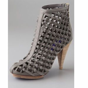 Charlie My Love ATM Knotted Woven Booties in Gray